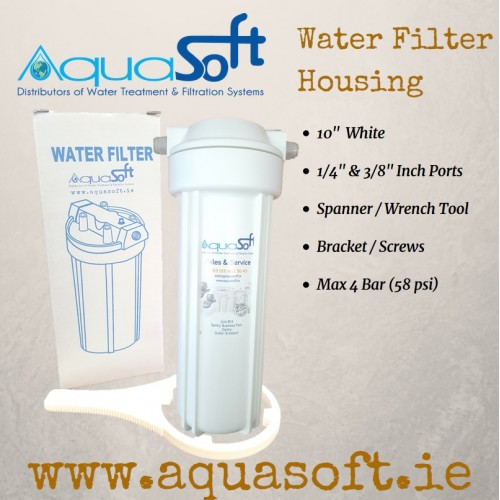 Water Filter Housing: 10'' White - 1/4'' Inch Ports