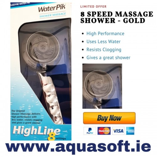 8 Speed Massage Shower Head - Chrome